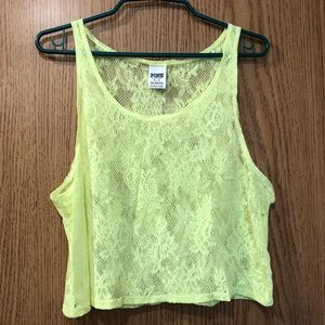 Victoria's Secret Pink Lace See Through Tank Top M